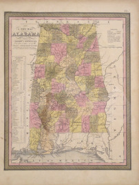 """S. Augustus Mitchell. """"A New Map of Alabama with its Roads & Distances from place to place, along the Stage & Steam Boat Routes."""""""