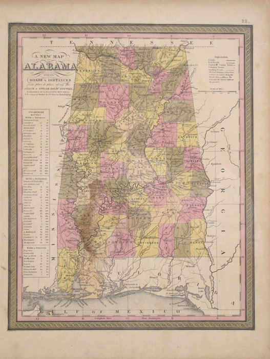"S. Augustus Mitchell. ""A New Map of Alabama with its Roads & Distances from place to place, along the Stage & Steam Boat Routes."""