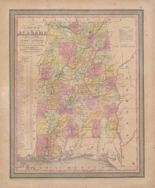 """Cowperthwait """"A New Map of Alabama with its Roads & Distances from place to place, along the Stage & Steam Boat Routes."""""""