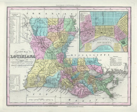 """Henry S. Tanner. """"A New Map of Louisiana with its Canals, Roads & Distances from place to place, along the Stage & Steam Boat Routes."""""""