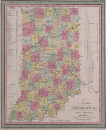 """Cowperthwait """"A New Map of Indiana with its Roads & Distances."""""""