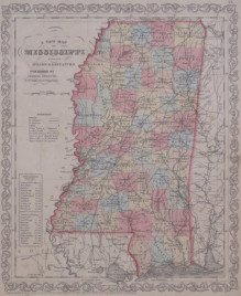 """Desilver """"A New Map of Mississippi with its Roads & Distances."""""""