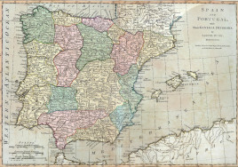 """Samuel Dunn. """"Spain and Portugal, with their General Divisions."""""""