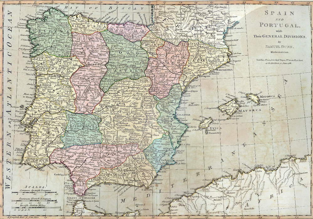 "Samuel Dunn. ""Spain and Portugal, with their General Divisions."""
