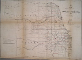 "GLO ""Map Showing the progress of the Public surveys of Kansas and Nebraska . 1866."""