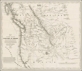 """Washington Hood. """"Map of the United States Territory of Oregon West of the Rocky Mountains. Exhibiting the various Trading Depots or Forts occupied by the British Hudson Bay Company connected with the Western and northwestern Fur Trade."""""""