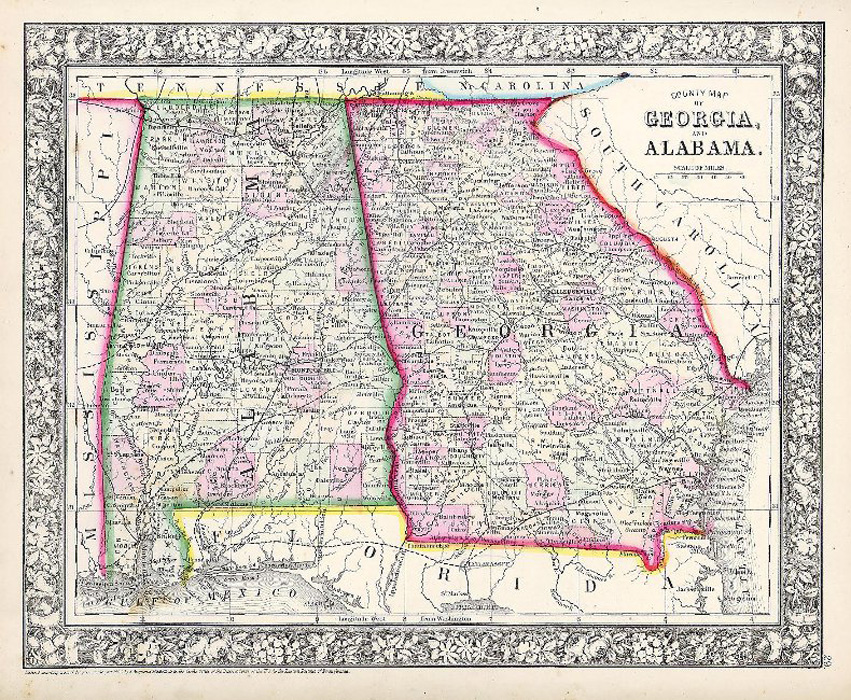 "Mitchell ""County Map of Georgia, and Alabama."""