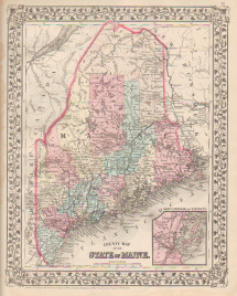 Mitchell County Map of the State of Maine